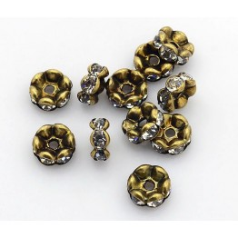 Crystal Antique Brass Rhinestone Rondelle Beads, Wavy Edge, 8x4mm