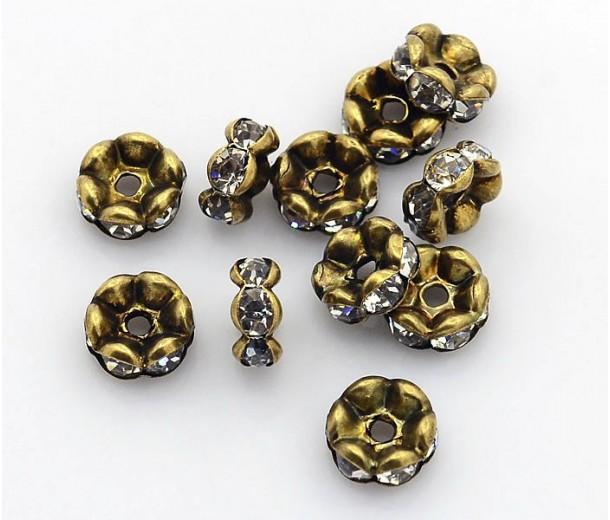 Crystal Antique Brass Rhinestone Rondelle Beads, Wavy Edge, 8x4mm