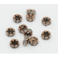 Crystal Antique Copper Rhinestone Rondelle Beads, Wavy Edge, 8x4mm, Pack of 10