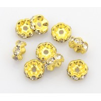 Crystal Gold Tone Rhinestone Rondelle Beads, Wavy Edge, 8x4mm, Pack of 10