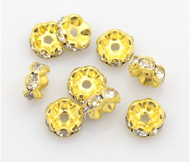 Crystal Gold Tone Rhinestone Rondelle Beads, Wavy Edge, 6x3mm, Pack of 20