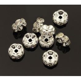 Crystal Silver Tone Rhinestone Rondelle Beads, Wavy Edge, 8x4mm