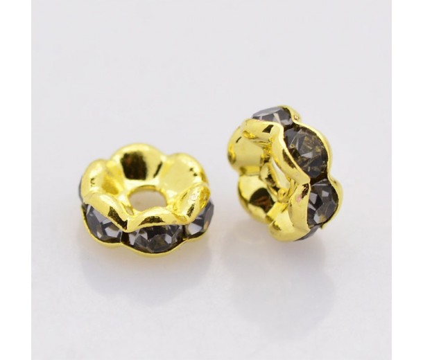Black Diamond Gold Tone Rhinestone Rondelle Beads, Wavy Edge, 8x4mm, Pack of 10