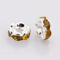 Topaz Silver Tone Rhinestone Rondelle Beads, Wavy Edge, 8x4mm
