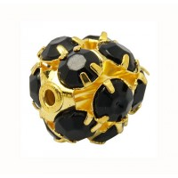 Jet Gold Tone Rhinestone Balls, 12mm Round