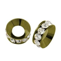 Crystal Antique Brass Rhinestone Rondelle Beads, 9mm, Pack of 10