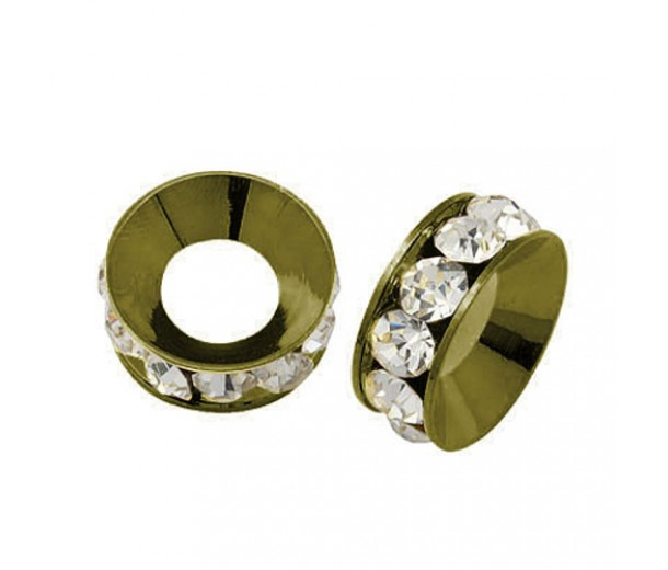 Crystal Antique Brass Rhinestone Rondelle Beads, 9mm