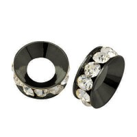 Crystal Gunmetal Rhinestone Rondelle Beads, 9mm
