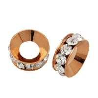 Crystal Rose Gold Rhinestone Rondelle Beads, 9mm