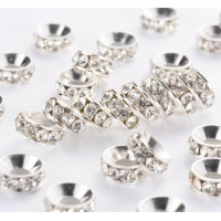 Crystal Silver Tone Rhinestone Rondelle Beads, 9mm