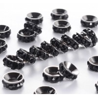 Jet Gunmetal Rhinestone Rondelle Beads, 9mm