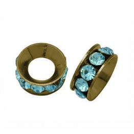 Aquamarine Antique Brass Rhinestone Rondelle Beads, 9mm