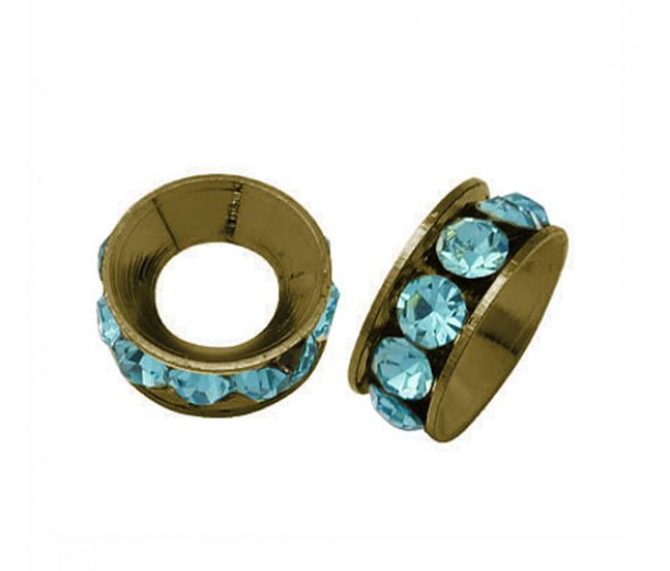 Aquamarine Antique Brass Rhinestone Rondelle Beads, 9mm, Pack of 10