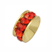 Siam Red Gold Tone Rhinestone Rondelle Beads, 9mm