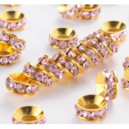 Rose Pink Gold Tone Rhinestone Rondelle Beads, 9mm