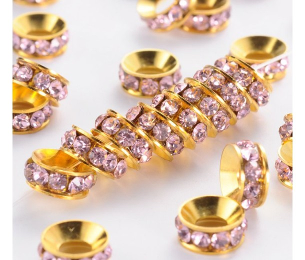 Rose Pink Gold Tone Rhinestone Rondelle Beads, 9mm, Pack of 10