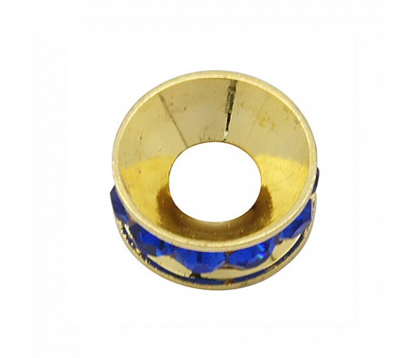 Cobalt Blue Gold Tone Rhinestone Rondelle Beads, 9mm