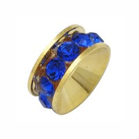 Cobalt Blue Gold Tone Rhinestone Rondelle Beads, 9mm, Pack of 10