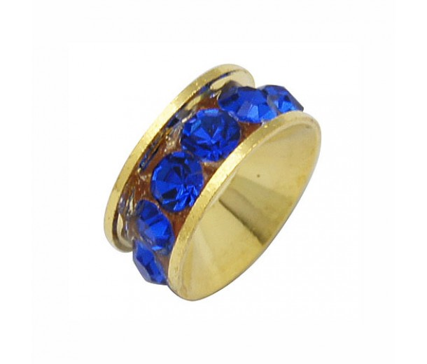 Cobalt Blue Gold Tone Rhinestone Rondelle Beads, 9mm, Pack of 10