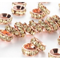 -Jonquil Rose Gold Rhinestone Rondelle Beads, 9mm, Pack of 10