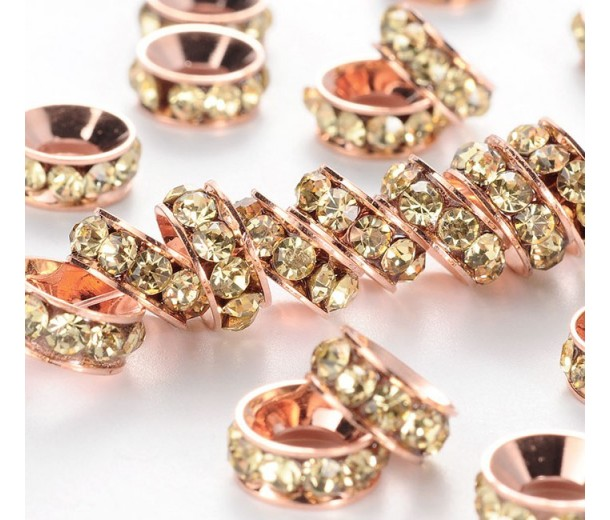 Jonquil Rose Gold Rhinestone Rondelle Beads, 9mm, Pack of 10
