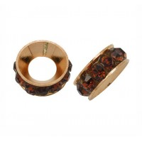 Smoky Topaz Rose Gold Rhinestone Rondelle Beads, 9mm
