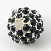 Jet Silver Tone Rhinestone Ball Beads, 12mm Round, Pack of 5