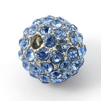 Light Sapphire Gunmetal Rhinestone Ball Beads, 12mm Round