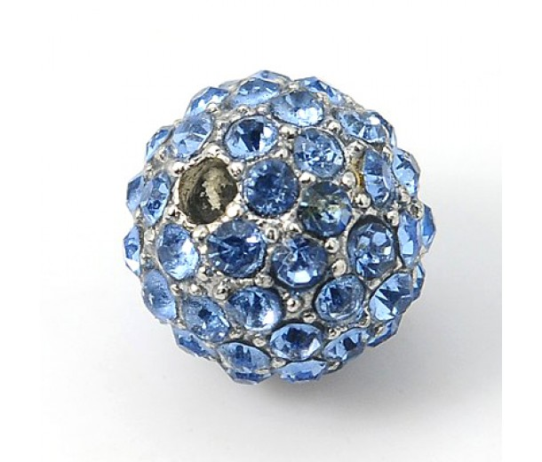 Light Sapphire Gunmetal Rhinestone Ball Beads, 12mm Round, Pack of 5