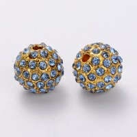 Light Sapphire Gold Tone Rhinestone Ball Beads, 12mm Round, Pack of 5
