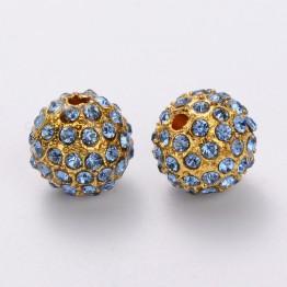 Light Sapphire Gold Tone Rhinestone Ball Beads, 12mm Round