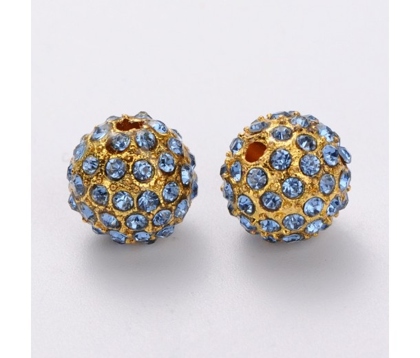 Light Sapphire Gold Tone Rhinestone Ball Beads, 12mm Round