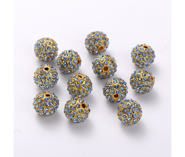Light Sapphire Gold Tone Rhinestone Ball Beads, 12mm Round, Pack of 5