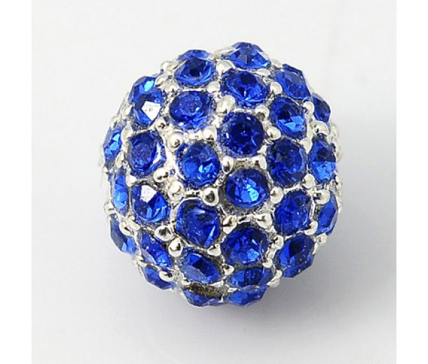 Sapphire Silver Tone Rhinestone Ball Beads, 12mm Round, Pack of 5
