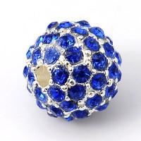 Sapphire Silver Tone Rhinestone Ball Beads, 12mm Round
