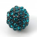 Blue Zircon Gunmetal Tone Rhinestone Ball Beads, 10mm Round, Pack of 5