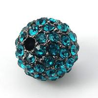 Blue Zircon Gunmetal Tone Rhinestone Ball Beads, 12mm Round