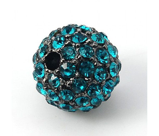 Blue Zircon Gunmetal Tone Rhinestone Ball Beads, 12mm Round, Pack of 5