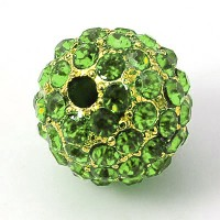 Peridot Gold Tone Rhinestone Ball Beads, 12mm Round, Pack of 5