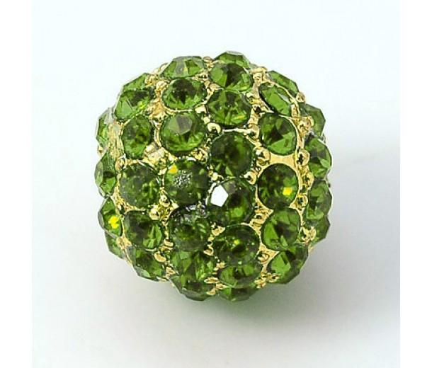 Peridot Gold Tone Rhinestone Ball Beads, 12mm Round, Pack of 5