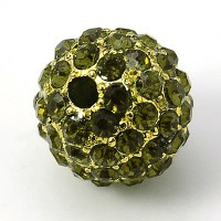 Olivine Gold Tone Rhinestone Ball Beads, 10mm Round