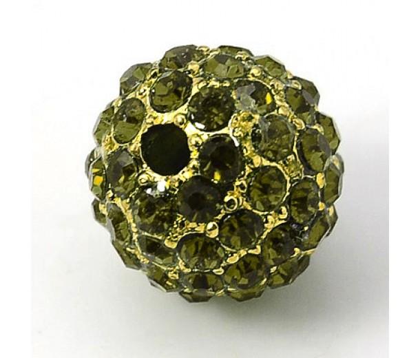 Olivine Gold Tone Rhinestone Ball Beads, 10mm Round, Pack of 5