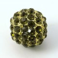 Olivine Gold Tone Rhinestone Ball Beads, 10mm Round, Pack of 5