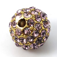 Light Amethyst Gold Rhinestone Ball Beads, 12mm Round, Pack of 5