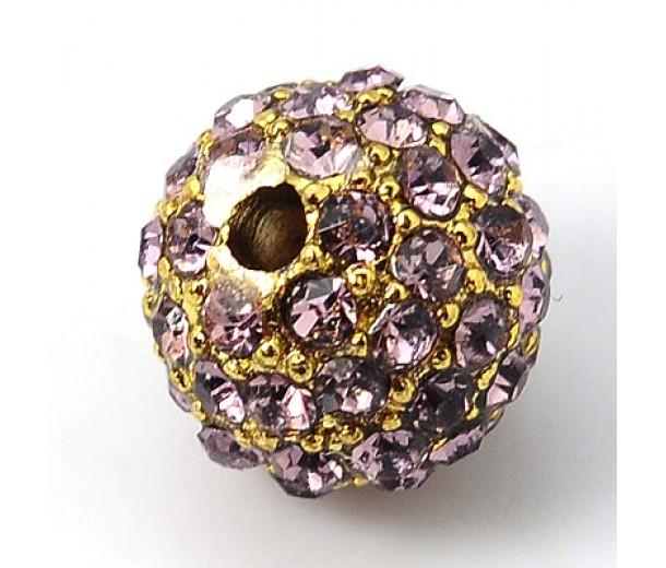 Light Amethyst Gold Rhinestone Ball Beads, 12mm Round