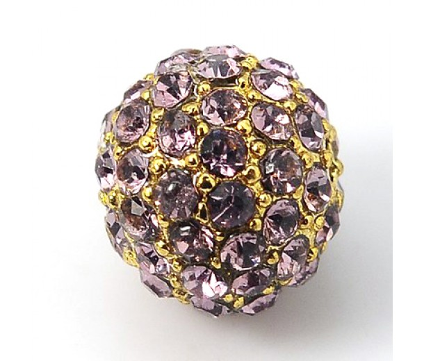 Light Amethyst Gold Rhinestone Ball Beads, 12mm Round, Pack of 5