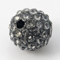 Black Diamond Gunmetal Rhinestone Ball Beads, 12mm Round, Pack of 5