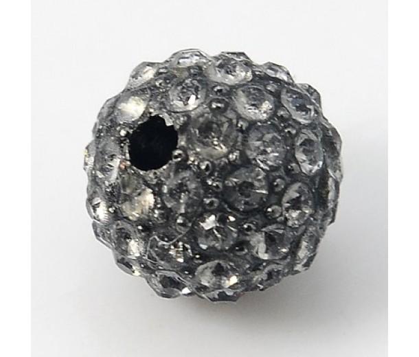 Black Diamond Gunmetal Rhinestone Ball Beads, 10mm Round