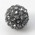 Black Diamond Gunmetal Rhinestone Ball Beads, 10mm Round, Pack of 5