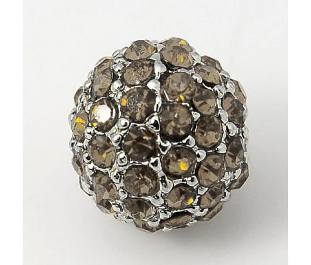 Black Diamond Platinum Tone Rhinestone Ball Beads, 12mm Round